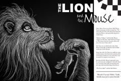 The Lion and the Mouse layout with linoleum cut illustration.