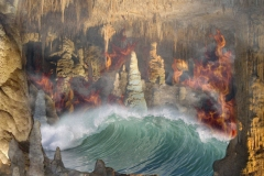 A fantasy environment with composite landscape blending earth, air, fire and water.