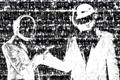 A portrait of Daft Punk using letterforms.