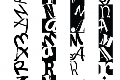 A typographical grid with letterforms spelling the name of the student.