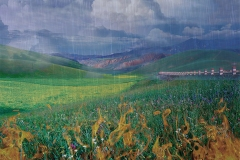 Mountains, meadow and rainstorm show a composite landscape blending earth, air, fire and water.