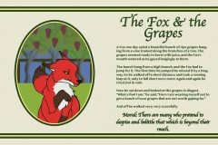 traditional storybook spread layout of The Fox and the Grapes with the fox in a frame of grapes.