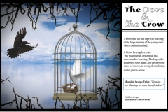 Rule of Thirds layout for The Dove and the Crow, with the dove in a cage.