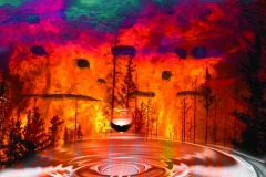 A fiery scene, composite landscape blending earth, air, fire and water.