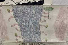 Exquisite corpse is a segmented drawing of feet, midsection, and head, each drawn by a different person. This drawing has a wiggly abstract face, millipede like midsection with many small human arms, and roots of a plant underground.