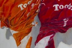 colorful photo realistic drawing of two tootsie pops, close up, one orange, one red.
