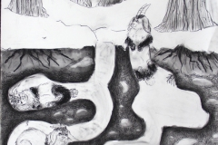 A composite creature drawing depicting a tunnel system with bunny-like creatures who have goat horns.