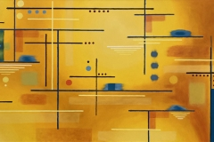colorful geometric painting of lines intersecting with dots.
