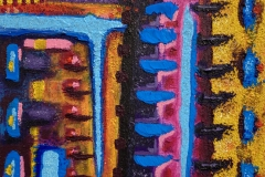 colorful textured abstract painting of lines and blotches of color.