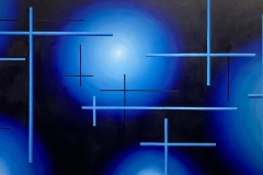 colorful geometric painting of lines among a background of glowing orbs.