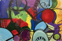colorful jumble of loose geometric forms interacting.