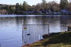 lake with fence.