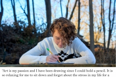 image of young artist drawing with pencil.