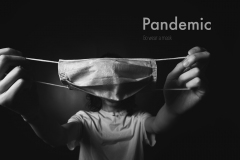 """image of mask blocking mans head, words stating """"Pandemic: Wear a mask""""."""
