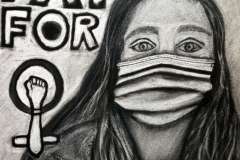 """charcoal portrait of a woman with a mask on. the background states """"equal pay for"""" then the symbol for female, with a fist within the circle."""