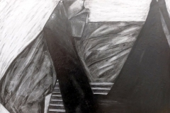 charcoal drawing of some objects with varying shades of light and dark.