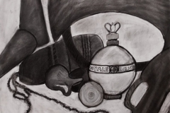 charcoal drawing of objects.