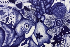 collage style ballpoint pen drawing of different patterns, animals and objects.