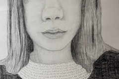 self portrait of a woman with a Ruth Bader Ginsburg collar with quotes from her written on it.