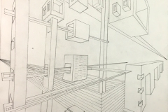 two point perspective drawing of building forms receding into space.