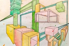 colorful two point perspective of blocks and stairs receding into space.