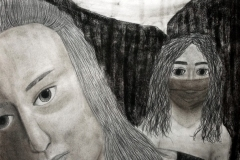"""portrait of two women, one wearing a mask and saying  """"this pandemic left me jobless and took my home""""."""