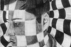portrait of a man with a checkerboard background the continues over his face.