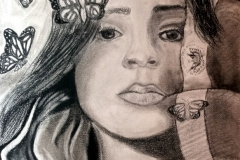 portrait of a woman with butterflies and a flag by her face.