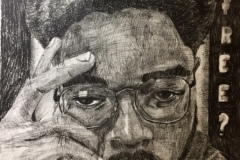 """Self portrait of a black man with hand to his head, glancing downwards. Along the side of the composition the word """"free?"""" is written."""