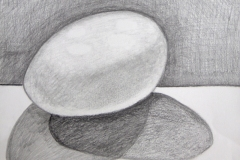 graphite value drawing of an egg. The range in values giving the egg it's form.