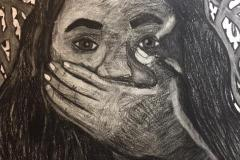 A self portrait of a woman covering her mouth, looking at the viewer. Thorns and roses tangle in the background.