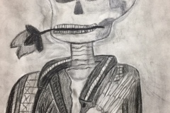 A charcoal drawing of a skeleton with a rose in its mouth.