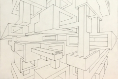 two point perspective drawing of box forms receding into space.