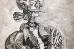 Portrait of a skeleton holding a rose in his teeth.