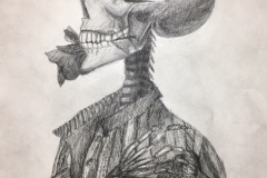 Side profile view of a skeleton holding a rose in his teeth, his arm placed across his chest.