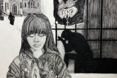 """self portrait of a woman praying with a church burning in the background, words stating """"I am praying for persecuted Christians""""."""