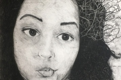 Portrait of a woman with lips puckered sideways, glancing to the side. Scribbles ascend from her head.