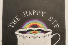 The Happy Sip with a teacup and rainbow.