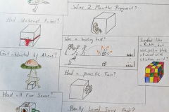 """Using a cube to complete the sentence """"wouldn't it be funny if . . ."""" images depict a bird with a cube head, a pregnant cube, an abducted cube, cube with eyes, ears, a big toothy smile."""