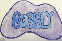 Bubbly in rounded letterforms and amoeba-like shape.