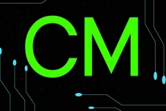 Letters: CM with circuit shapes for Circuit Masters electronics.