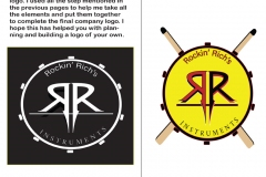 Logo in Black and White and color for Rockin' Richard's music shop.