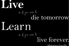 Gandhi Quote Live as if you were to die tomorrow . . .