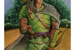 Animation concept art of a warrior in his armor of green scales holding a bow. There is great attention to detail in the armor, cape and bow.