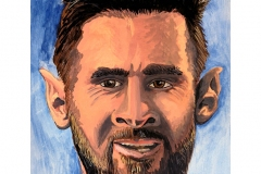 Caricature of international soccer star Lionel Messi. Messi is an Argentine professional footballer who plays as a forward and captains both Spanish club Barcelona and the Argentina national team.