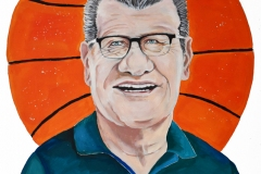 Caricature painting of UConn Women's Basketball Coach Geno Auriemma, done in gouache paint, portrait style with a large basketball behind him that frames the portrait.