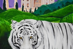 The white Bengal Tiger strolls in the forefront, as the farms of India are displayed in the background, and just beyond that the Taj Mahal rests in all its glory. The sky is painted with a beautiful purple tone which plays well off the colors of the beige Taj Mahal, the green of the landscape, and the white of the tiger.