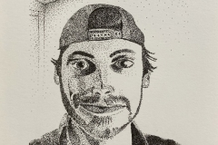 A stippled self portrait of the artist from the shoulders up.