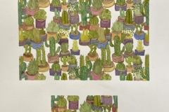 A colorful repeating pattern of various potted cacti