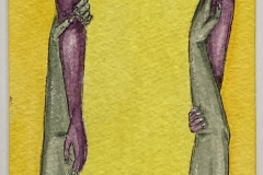 Two sets of outstretched arms grasping eachother by the elbows, one being green, one being purple.